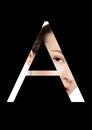 A letter beauty makeup girl creative fashion font
