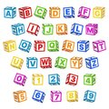 Letter blocks font. 3d children toys english alphabet, baby cubes different angles, bright color letters and numbers Royalty Free Stock Photo