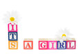 Letter blocks spelling its a boy isolated on white background Royalty Free Stock Photography