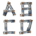 Letter of Blue jeans alphabet Stock Images