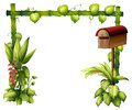 A letter box and plants illustration of on white background Royalty Free Stock Images