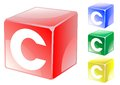 Letter c in cube set of alphabet color Royalty Free Stock Photography