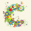 Letter C, floral design. Royalty Free Stock Photo