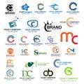 Letter C logo set. Set of colorful C letter symbols Royalty Free Stock Photo