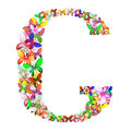 The letter C made up of lots of butterflies of different colors