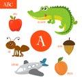 Letter A. Cartoon alphabet for children. Alligator, ant, apple,
