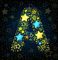 Letter a cartoon star colored kid style vector font with stars Stock Image