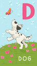 Letter d animal abc animals dog in alphabet card Stock Images