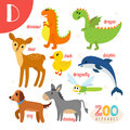 Letter D. Cute animals. Funny cartoon animals in vector.