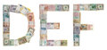 Letter D, E, F from money Stock Photography