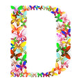 The letter D made up of lots of butterflies of different colors