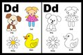 Letter D worksheet Stock Images