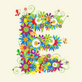 Letter E, floral design. Royalty Free Stock Photo