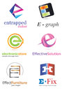 Letter e logo alphabetical design concepts Stock Photo
