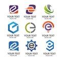 Letter E logo set