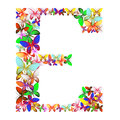The letter E made up of lots of butterflies of different colors