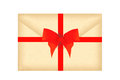 Letter envelope with red ribbon and bow isolated on white Royalty Free Stock Photo