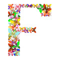 The letter F made up of lots of butterflies of different colors