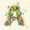 Letter A, floral design Royalty Free Stock Photo