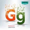 The letter G, character digital technology logo design