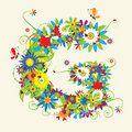 Letter G, floral design Royalty Free Stock Photo