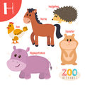 Letter H. Cute animals. Funny cartoon animals in vector.