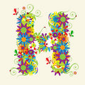 Letter H, floral design Royalty Free Stock Photo