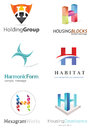 Letter h logo alphabetical design concepts Stock Image