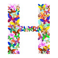 The letter H made up of lots of butterflies of different colors