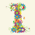 Letter I, floral design Royalty Free Stock Photo