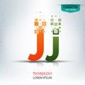The letter J, character digital technology logo design