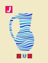 Letter J. Cute cartoon english alphabet with colorful image and word.