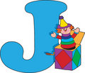 Letter J with a Jack in a Box Royalty Free Stock Image