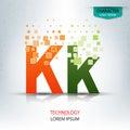 The letter k, character digital technology logo design