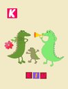 Letter K. Cute cartoon english alphabet with colorful image and word.