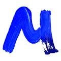 Letter M drawn with blue paints