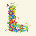 Letter L, floral design Royalty Free Stock Photo
