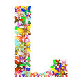 The letter L made up of lots of butterflies of different colors