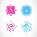 Letter a lotus flower logo vector company element template of alphabet with pink and blue Stock Images