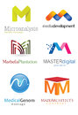 Letter m logo alphabetical design concepts Royalty Free Stock Photos