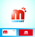 Letter M logo red icon 3d Royalty Free Stock Photo