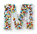 Letter M. Set of alphabet of medicine pills, capsules, tablets
