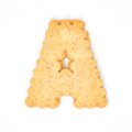 Letter A made of cracker cookie Royalty Free Stock Photo
