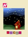 Letter N. Cute cartoon english alphabet with colorful image and word.