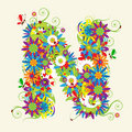 Letter N, floral design Royalty Free Stock Photo