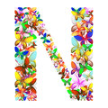 The letter N made up of lots of butterflies of different colors