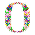 The letter O made up of lots of butterflies of different colors