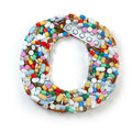 Letter O. Set of alphabet of medicine pills, capsules, tablets a