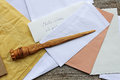 Letter opener in wood and open mail Royalty Free Stock Photo