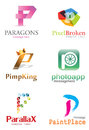 Letter p logo alphabetical design concepts Stock Photography